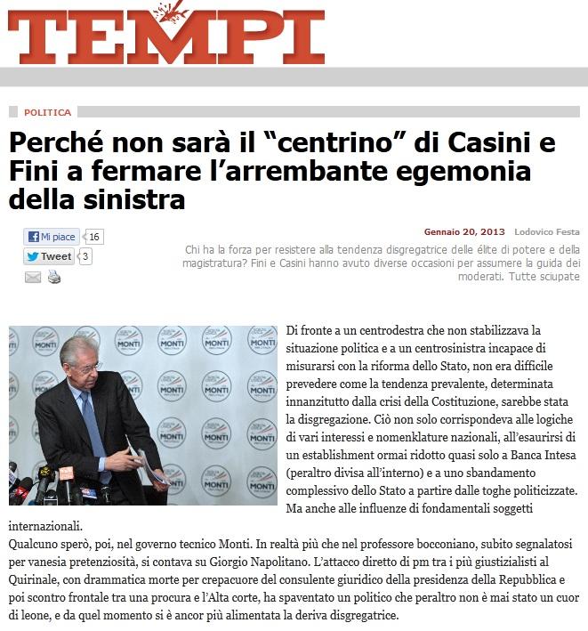 Rassegna stampa 21/01/2013: elezioni, esito sempre più incerto